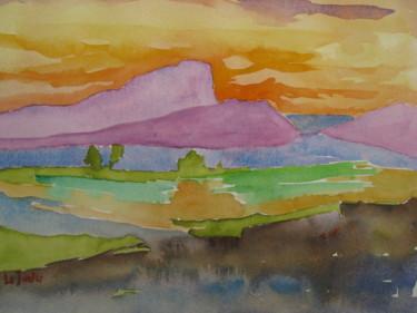 Coucher de soleil derrière le Pic Saint-Loup